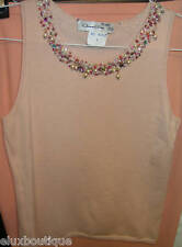 OSCAR DE LA RENTA Cashmere HAND BEADED Jewelry Pearls Tank TOP Camisole Shirt 3K