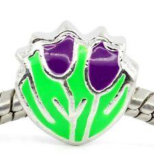 Spring Flowers Purple Green Enamel Tulip Bead for Silver European Charm Bracelet