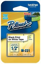 "Brother M231 P-touch Label Tape 1/2"" Black on White M Series M-231 Mk231s"