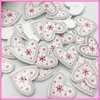 Buttons Holes Wooden Craft Merry Christmas Heart Flatback Sewing Accessories