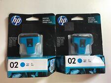 2 x Genuine HP 02 Cyan PRINTER INK CARTRIDGE  (Past used by date)