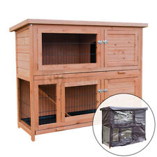 LARGE 4ft WOODEN RABBIT HUTCH WITH RUN AND COVER 2 TIER PET CAGE GUINEA PIG