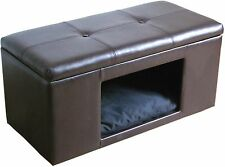 Ottoman Bench Pet Hideaway Bed Small Dog Cat Hidden House Kennel Crate Furniture