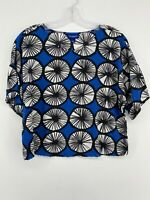 Marimekko x Target Geometric Blue Short Sleeve Top Women's SMALL