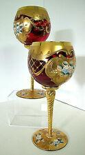 Gorgeous Set of 2 Vtg Bohemian Czech Ruby Red Wine Goblets~Enamel/Gold