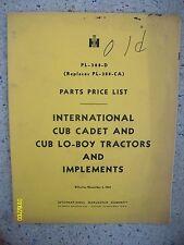 RARE 1965? IH Cub cadet Cub Lo-Boy Tractors Implements Parts Price List