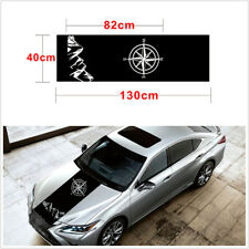 1 x Universal Compass Mountain Range Sticker Car Hood Graphic Vinyl Decal Black
