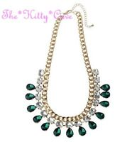 Deco Emerald Green Teardrop & Pale Yellow Cushion Bling Gold Chandelier Necklace