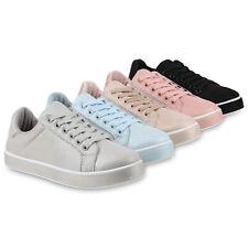 Damen Sneaker Low Glitzer Turnschuhe Freizeit Sportschuhe Schnürer 820815 Schuhe