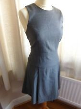 J. Crew pleated stretch flannel dress fit flare grey US 4 UK 10 VGC smart work