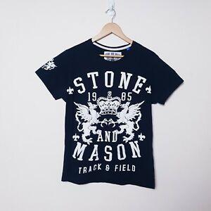 Stone and Mason Mens Size L Large Black Track & Field Tee T Shirt