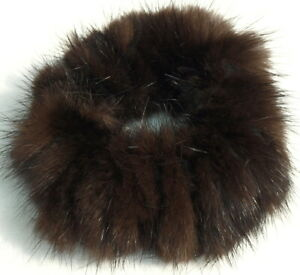 Mink Hair Bands Fur Ribbed Leather Bracelet Cuff Hairstyle Scrunchie Darkmink