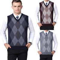 Mens Argyle Sweater Vest Knitted Tank Top V-Neck Golf Sleeveless Jumper