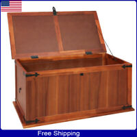 Wooden Chest Storage Trunk Wood Bedroom Large Box Blanket Books Shoes Toys Mini