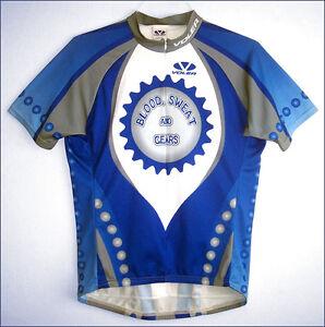 Men's Voler BLOOD SWEAT & GEARS blue/gray lycra bike jersey - size L