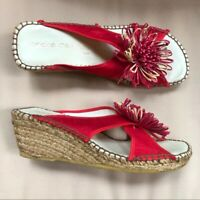 Andre Assous Flower Red Criss Criss Slip On Espadrille Sandal Size 8