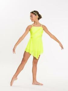Dance Costume Small Adult Highlighter Yellow Lyrical Modern Jazz Solo Revolution