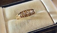 Beautiful Quality Antique Heavy Solid 18 Carat Gold Five Stone Diamond Ring N1/2