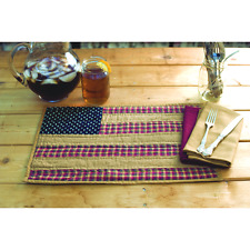 Primitive Country Americana PATRIOTIC PATCH Independence Quilted Placemats 2 Set