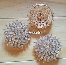 2pcs GOLD Round Clear Crystal Rhinestone Diamante Bling Shank Sew on Buttons