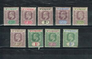 ST VINCENT - KEVII 1902 SG 76/84 MOUNTED MINT SET (SMALL PERF FAULT ON 5s)