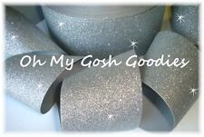 "3"" * SUPER SPARKLE * GLITTER GROSGRAIN RIBBON FOR CHEER TICK TOCK HAIRBOW SILVER"
