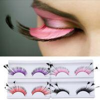 Women Fancy Soft Long Feather False Eyelashes Eye Lashes Makeup Party Club New