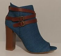 """NEW!! Womens Bamboo Blue Jean Ankle Boot Open Toe 4"""" Heel Size 6.5M"""