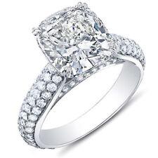 3.37 Ct. Cushion Cut w/ Round Cut Micro Pave Diamond Ring G,VVS1 EGL 18K Gold