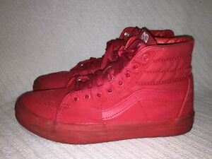 Men's Size 6 Ladies Size 7.5 VANS Sk8-Hi Solid RED Canvas Skateboard Shoe 721500