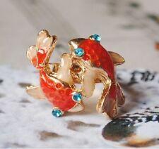 R62 BETSEY JOHNSON Little Gold Fish Swimming Japanese Koi Carp Gosanke Ring   US