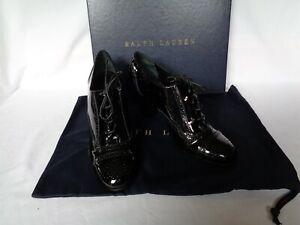 NEW Ralph Lauren Ladies CLARA Shoe Boot Black Patent Leather UK 6.5 EU 39.5 £480