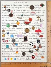 Card of 55 BUTTONS, Story of Mom's Life Told in Buttons, Various Materials