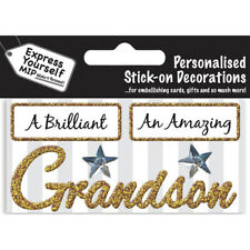 Grandson Gold DIY Greeting Card Topper MIP Handmade Scrapbooking Craft NEW