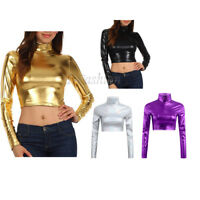 Women Turtleneck Leather Long Sleeve Crop Top Blouse T-Shirt Tank Tops Clubwear
