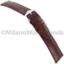 16mm Hirsch Duke Alligator Grain Genuine Leather Matte Burgundy Watch Band