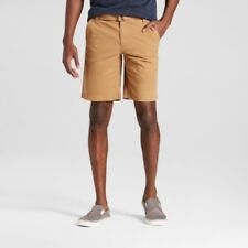 NWT Mens Mossimo Belted Flat Front Chino Shorts With Stretch Brown Size 28
