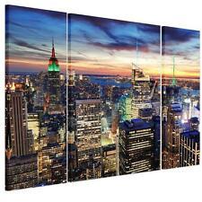 3pcs Large Decor Canvas Prints Wall Art Picture-New York City Night Unframed