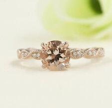 Art Deco Morganite Engagement Ring,14k Rose Morganite Diamond Solitaire Ring