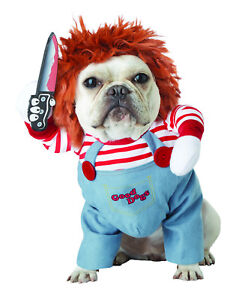 Pet Chucky Dog Costume Halloween Clothes Dog Holding Knife Funny Lethal Doll