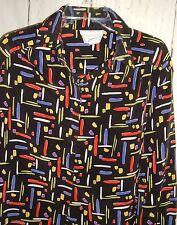 Women's Vtg Helen Fabrikant New York Black Mod Geometric Blouse Top Sz 12 Shirt