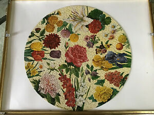 """Vintage Springbok COMPLETE Circular """"Garden Flowers"""" Painted by Maynard Reece"""