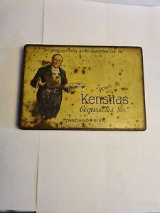 "Vintage ""KENSITAS"" CIGARETTE TIN Flat Fifty Standard Size Retro Advertising"