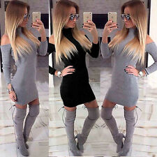 UK Women Cold Shoulder Long Sleeve Bodycon Ladies Party Casual Mini Jumper Dress
