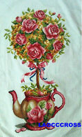 """New Completed finished cross stitch needlepoint""""FLOWER TEAPOT""""home decro"""
