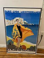 1989 La Plage de Calvi Paris France Lyon Art Travel L Poster Lithograph