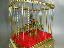 TOP QUALITY GERMAN ANTIQUE SINGING BIRD CAGE MUSIC BOX AUTOMATON (WATCH VIDEOS)