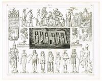 ANTIQUE PRINT VINTAGE 1851 ENGRAVING ART HISTORY ANCIENT PERSIA EGYPTOLOGY