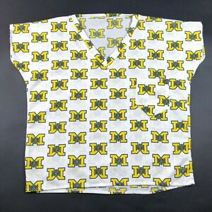 Vintage 90s University of Michigan Wolverines Block M Pattern m Scrubs Shirt Top