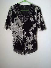 Appointments Black White Floral V-Neck Rhinestone Sequin Blouse Top Shirt Sz S